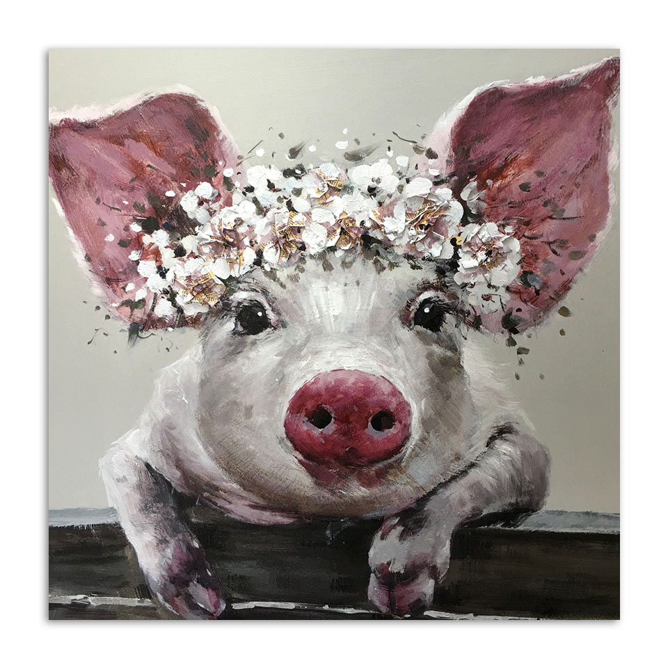 Artsailing 1 Piece Canvas Wall Art Bristle Pig Wearing