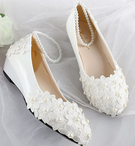 c09b1099bef Women wedding shoes white wedges mid low high heels lace handmade pearls  beading bridal pumps shoe pearl bracelet party pump