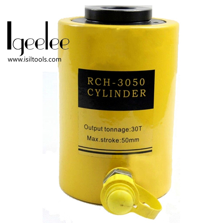 iGeelee Hollow Hydraulic Cylinder RCH 3050 Hydraulic Jack with tonnage of 30T work travel of 50mm