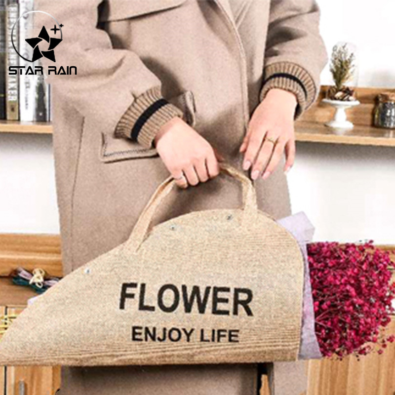 2019 New High Grade Linen Flower Bouquet Packing Bags Florist Gift Packaging Box Event Party Supplies Portable Wrapping Paper