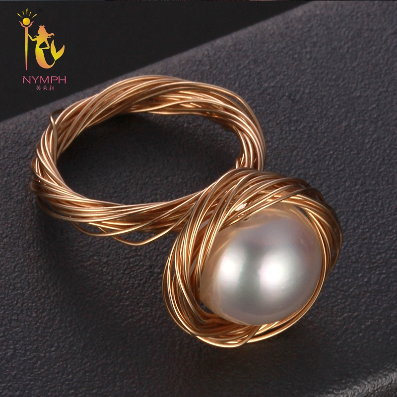NYMPH Freshwater Pearl Ring Fine Jewelry Big Rings For Women Near Round White Pearl Ring 2018 Birthday Gift J313 цена в Москве и Питере