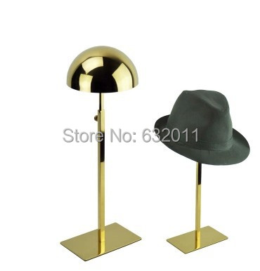 Titanium gold metal hat display stand wig cap holder display rack store window display props table desk shelf storage organizer