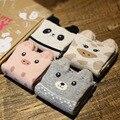 4 pairs/box Hot New 3D Cute Animals Style Striped Fashion Cartoon Socks Women 3D Cat Footprints Cotton Socks Floor Meias Soks