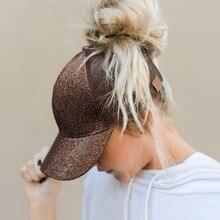 Горячая новинка, блестящая бейсбольная кепка «конский хвост», летние шапки для папы и женщин,, Снэпбэк Кепка в стиле хип-хоп, с блестками, блестящая сетчатая Кепка Дальнобойщика