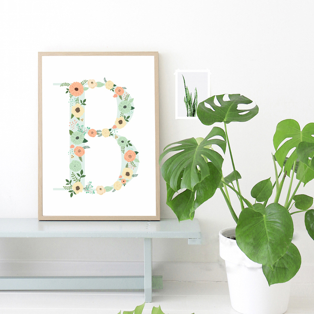 Fl Monogram Nursery Letter B Art Print Painting Poster Wall Pictures