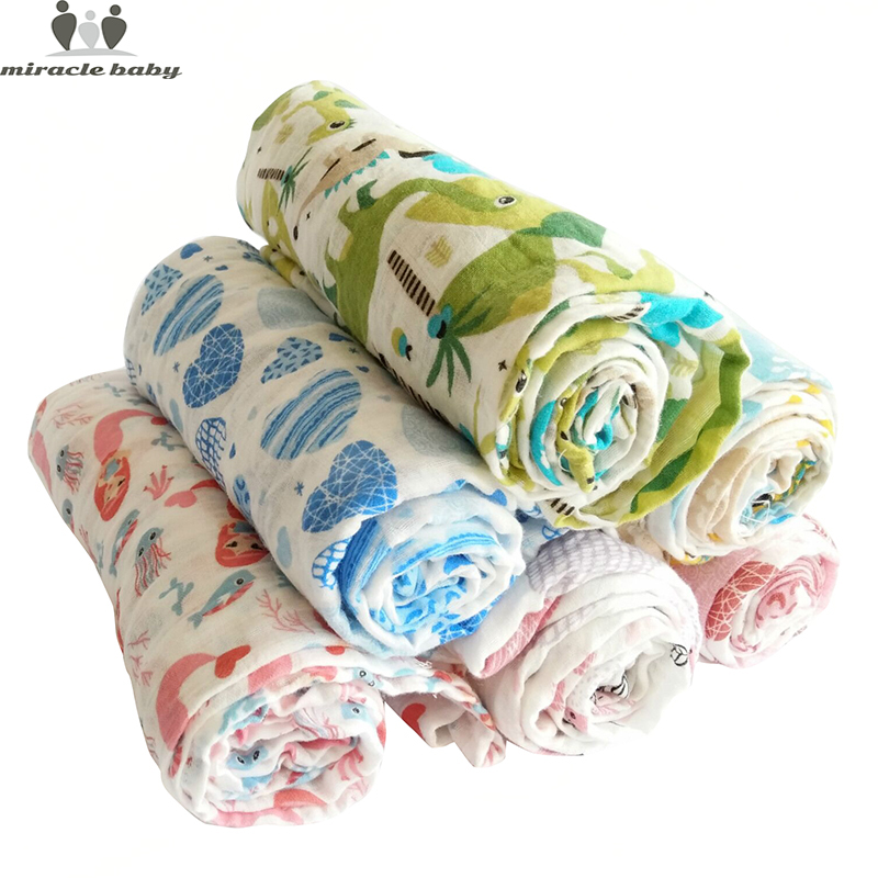 Baby Muslin Blanket Baby Swaddle Cartoon Printed Cotton Baby Blanket Soft Breathable For Newborn Baby Blanket