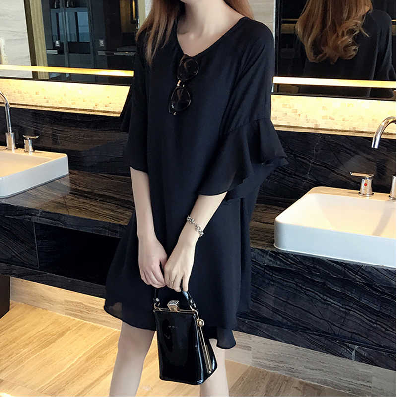 2019 New 5XL 4XL 3XL Summer Women Fashion Loose Cute Round neck Butterfly Sleeve Black Chiffon Plus size Tops Dress Hot