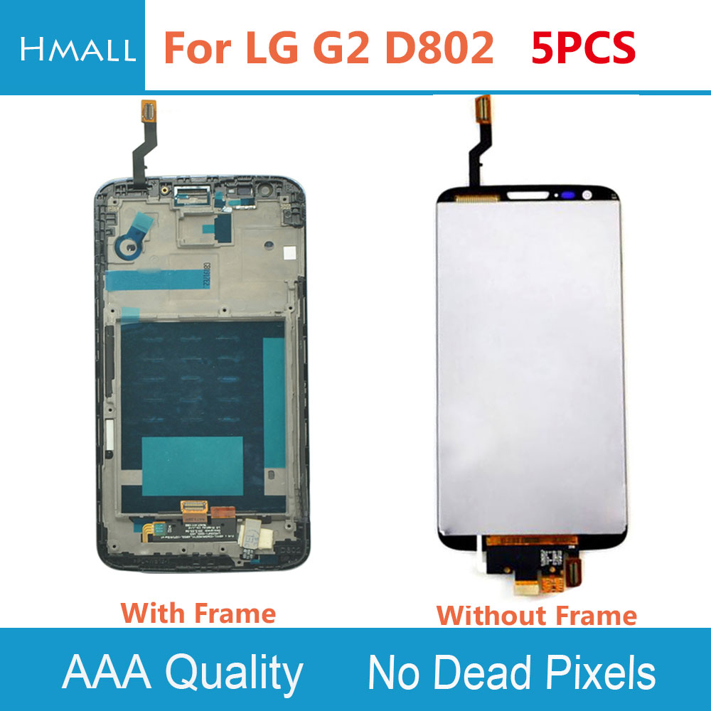 5 PCS LCD Display For LG G2 D802 Touch Screen With Digitizer with Frame Assembly Replacement White/Black For LG D802 G2 LCD
