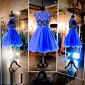 luxury short cocktail dresses 2017 high neck crystal beaded royal blue tulle coctail dress for prom party robe de soiree