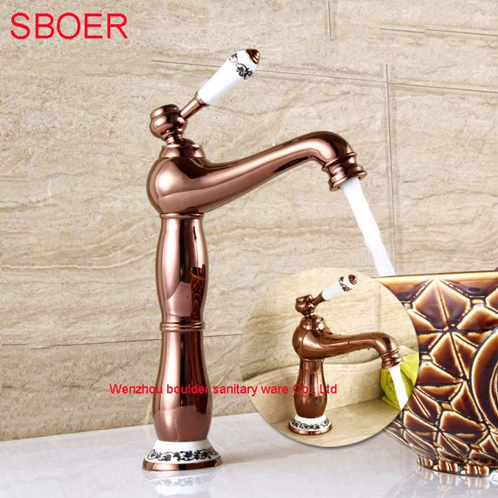 New Fashion Luxury antique royal family style two types Rose gold Widespread hot and cold Water Copper basin faucet mixer tapNew Fashion Luxury antique royal family style two types Rose gold Widespread hot and cold Water Copper basin faucet mixer tap