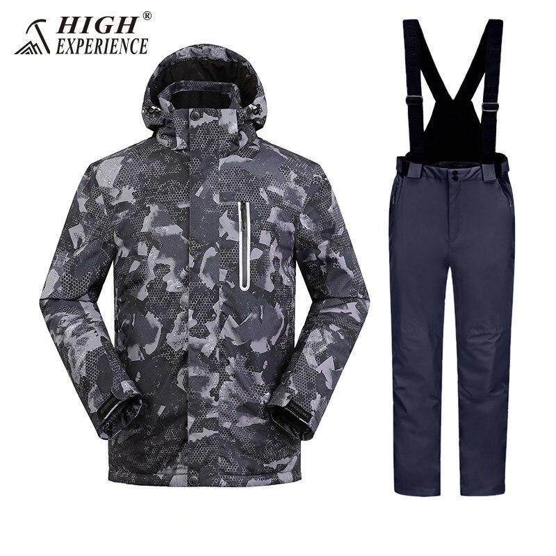 High Experience Men's Ski Suit Camo Snowboarding Suit For Men Winter Men's Jackets Pants Outdoor Sport Suit For Men Waterproof