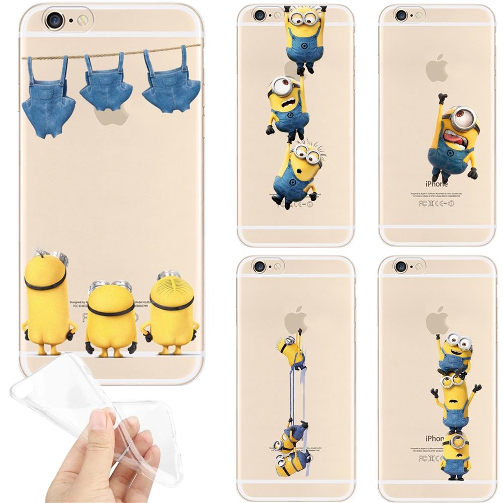 premium selection f0e1e 6a7c9 Funny Minions Pattern For iPhone 5S 5 SE 6s 6 7 Plus 7Plus Case Transparent  Soft TPU Silicone Cases Phone Back Cover Coque