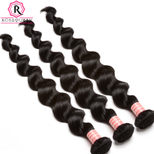 Brazilian Virgin Hair Loose Wave Human Hair Weave Bundle Natural Black Color 1 Piece Hair Extension Rosa Queen Hair Products