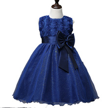 Girls Flowers Children Chothing Kids Stage Dance Rose Lace Bow Dresses For Girls Party Wedding Evening Princess Dress New 2018 4(China)