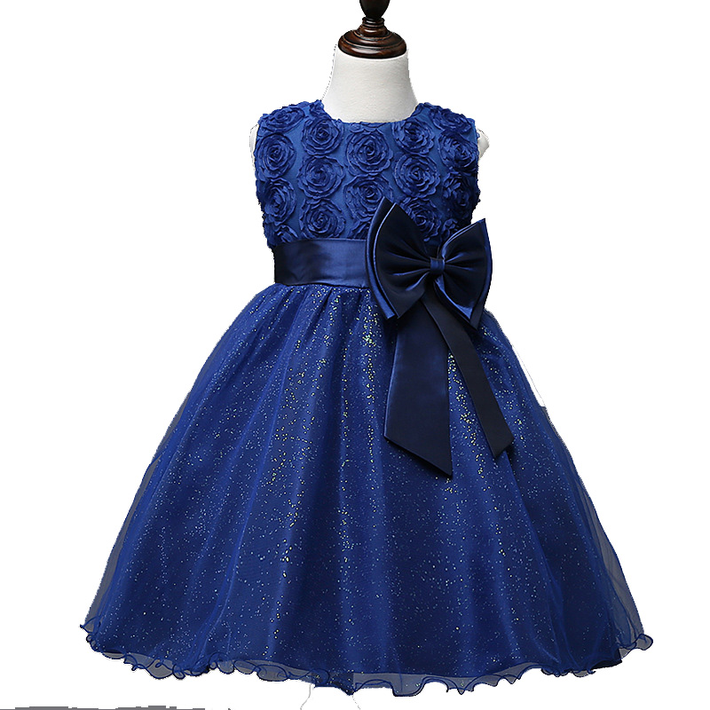Girls Flowers Children Chothing Kids Stage Dance Rose Lace Bow Dresses For Girls Party Wedding Evening Princess Dress New 2018 4