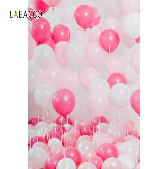 Laeacco Pink Backdrops Balloons Birthday Party Celebration Baby Child Portrait Photographic Backgrounds Photocall Photo Studio