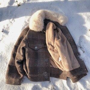 Image 5 - Mishow 2019 Women New winter clothing thicken woolen jacket female Korean version of the short loose Plaid woolen coat MX18D9536