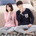 Par de Pijamas de algodón pijama de hombre y Mujeres Pijama Pijama de cuello Redondo de Manga Completa de Los Hombres ropa de Dormir ropa de Dormir de algodón Ocasional 8306