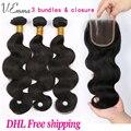 7a Brasileño de la virgen del pelo con cierre de 3 paquetes con cierre de cabello humano onda del cuerpo Brasileño con cierre lía con cierre