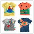 Meninos T-shirt 2016 novo verão de roupas infantis do bebê meninos camiseta crianças t camisas de algodão dos desenhos animados roupa do bebê