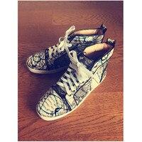 Новые Синий Граффити Для мужчин модная повседневная обувь черный питон кожа джентльмен вулканическая обувь Размеры 45 Супер Лидер продаж об...