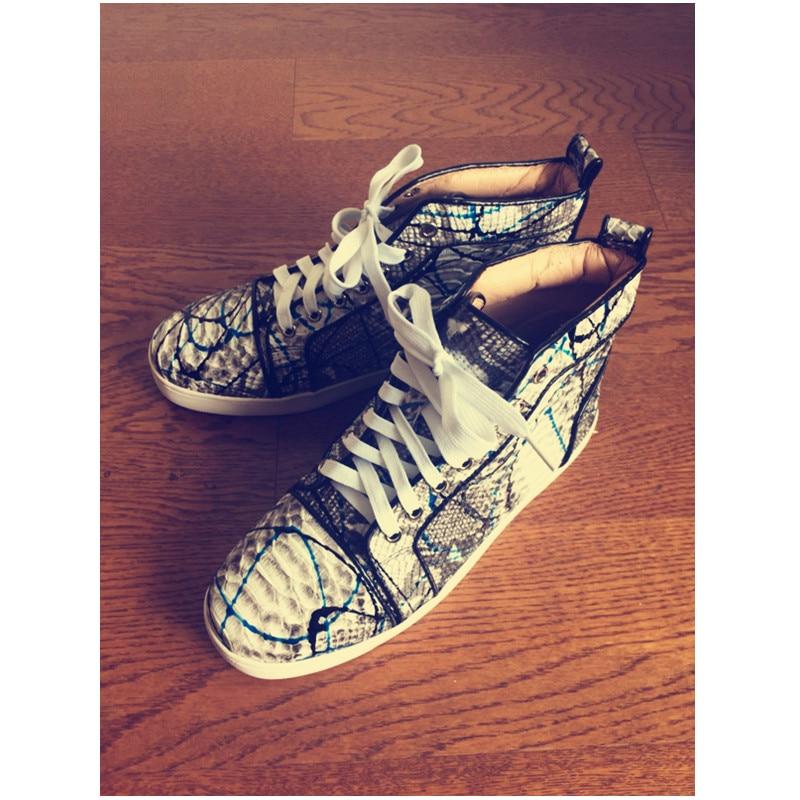 Mais novo Azul Graffiti Homens Moda Causal Sapatos de Couro Python Preto Cavalheiro Vulcanize Sapatos Rendas Até Sapatos Tamanho 45 Super Quente