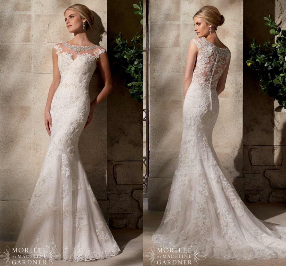Summer Style Jeweled Lace Wedding Dress 2015 Button Back New ...