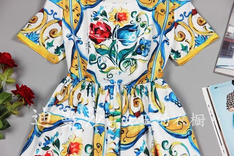 NUEVO ESTILO DE VERANO exquisita moda de manga corta cuello redondo reparación vestido delgado vestido de mujer - 3
