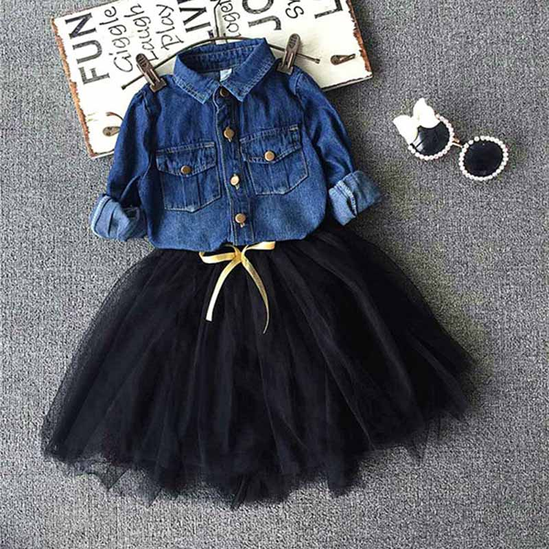 Toddler Kids Baby Girls Outfits denim shirt+tutu skirt set,2-7y girls Clothes Set,children outwear autumn winter