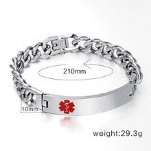 Customized Medical Remind Bracelet & Bangles ID Tag Engraved Name Stainless Steel Chain for Women / Men