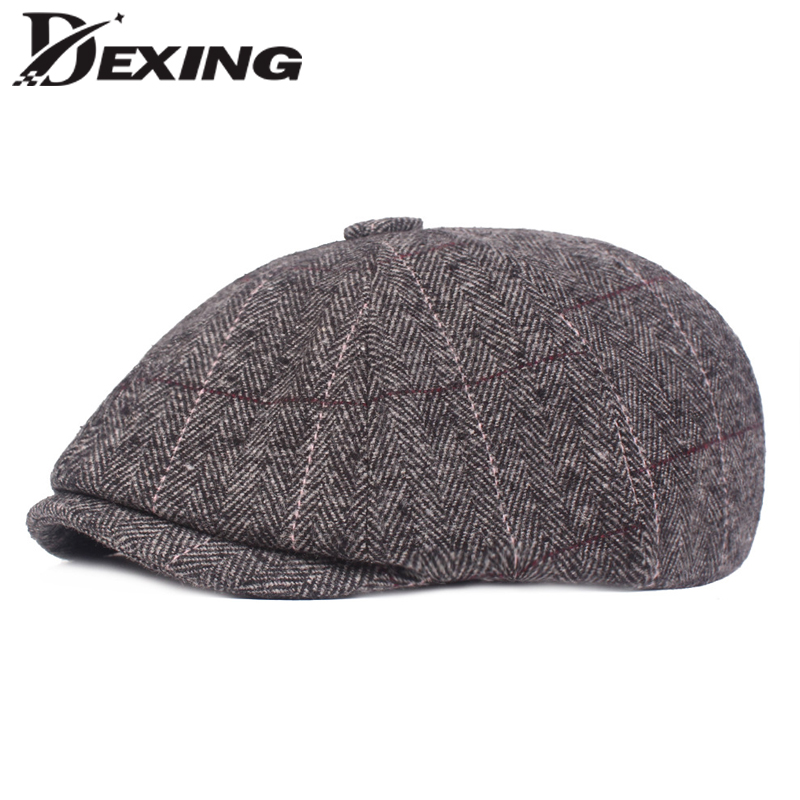 b6f16d36b557b New Woolen Plaid Gatsby Newsboy Cap Men Autumn Winter Hat for Men Golf  Driving Flat Cap