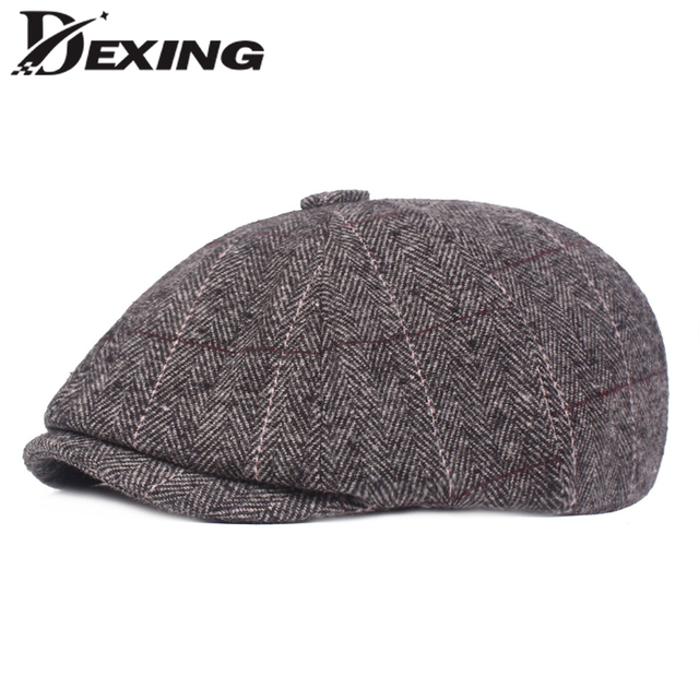 37d32be661ab6 New Woolen Plaid Gatsby Newsboy Cap Men Autumn Winter Hat for Men Golf  Driving Flat Cap Unisex Berets Hat Peaky Blinders Men Hat
