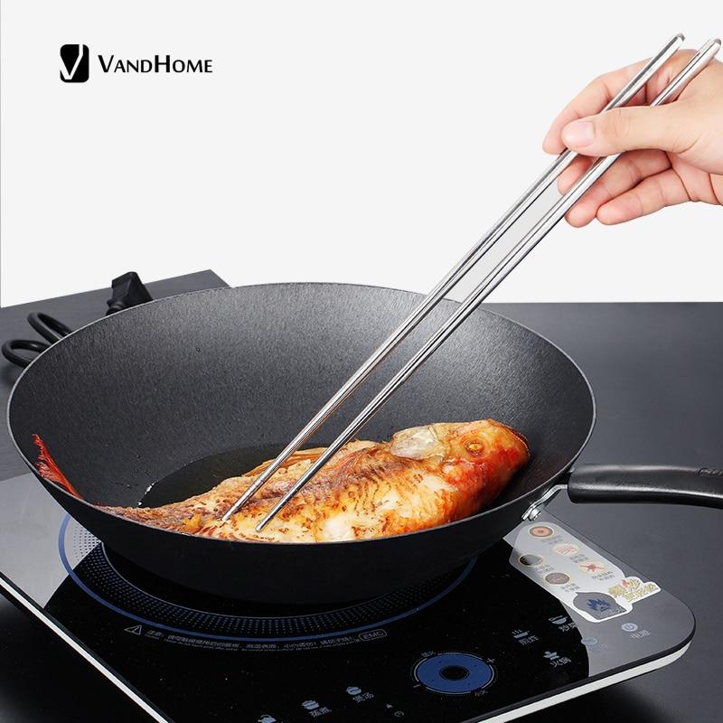 Fashion Chinese Stainless Non-Slip Reusable Flatware Chopsticks SU