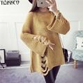 2017 Mujeres del Resorte Nueva Moda Suéter de Punto Jerseys Alta Calidad Agujero Suéteres Manga Larga Tire Femme Sweter Mujer SZQ112