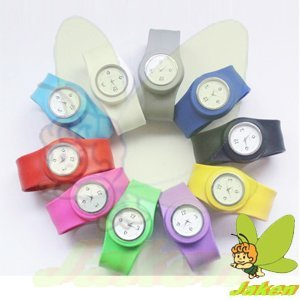 New Top Sale Fashion Silicone Slap Watch, 10colors, Shiny Face Watch Fit for all Size