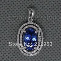 Vintage Oval 8x12mm 14Kt White Gold Tanzanite Diamond Pendant , 585 Solid Gold Pendant For Women , Tanzanite Jewelry ESR13