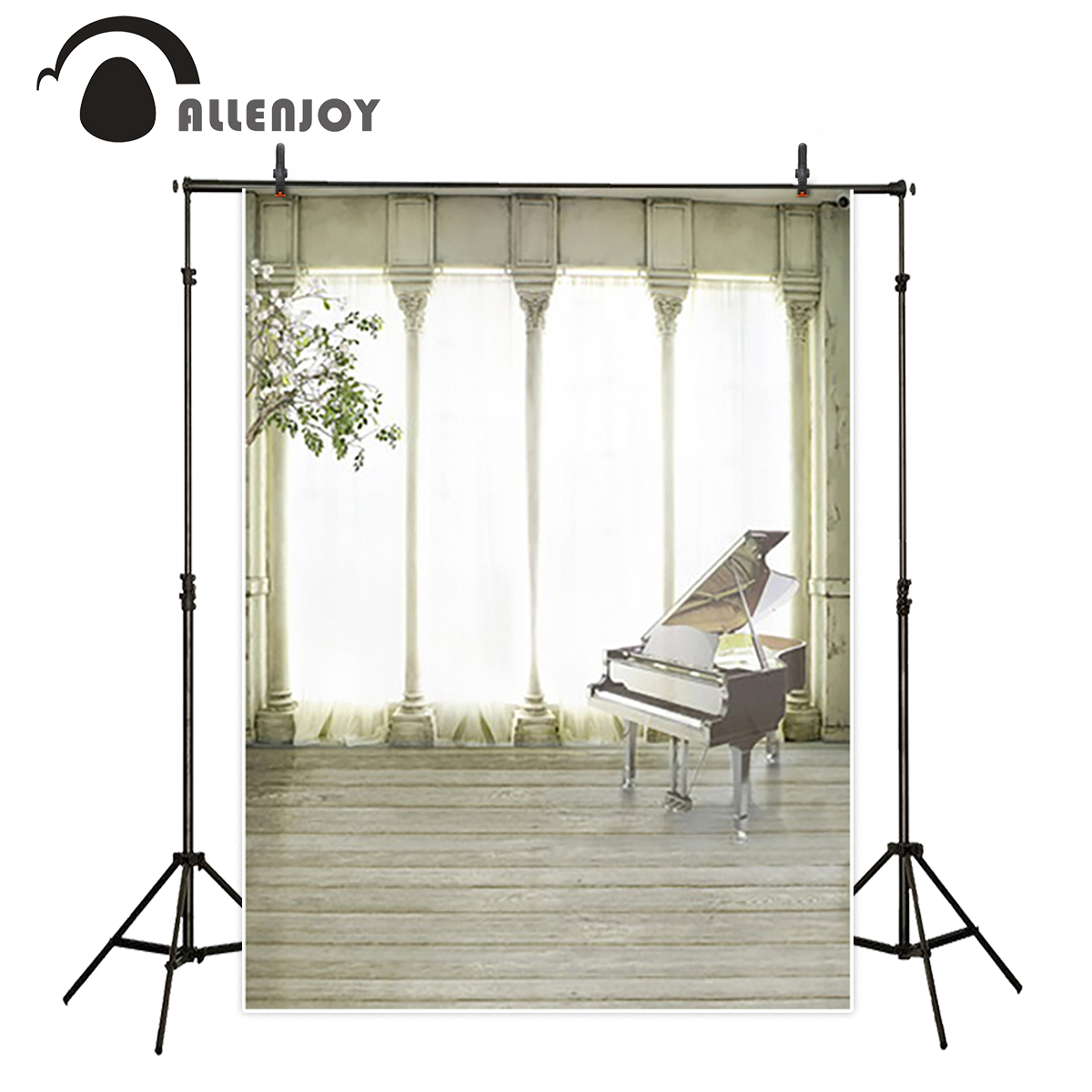 Allenjoy Background for photo Indoor piano wood gorgeous palace wedding boda fotocall Background for photo the cloth piano books for the young musician