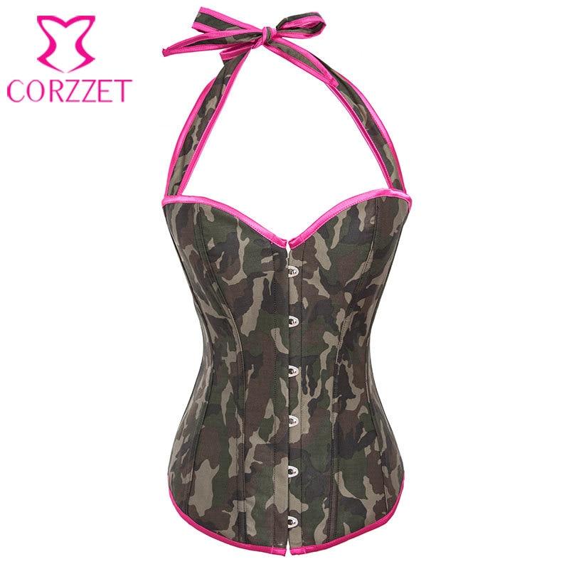 521454e68 Camuflagem Denim Top Corset Corpetes E Espartilhos Gothique exército  Cosplay Burlesque traje Para Festa Korsett Para mulheres
