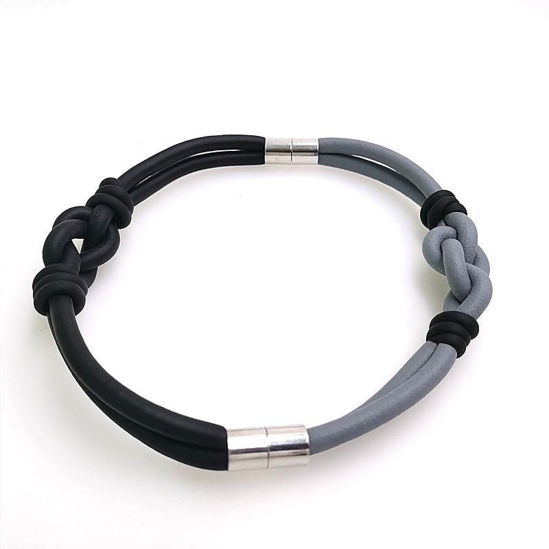 Купить с кэшбэком YD&YDBZ Designer Handmade Bracelets For Women 2019 New Rubber Bracelet Bind Fashion Accessories Wholesale Black And Gray Chains