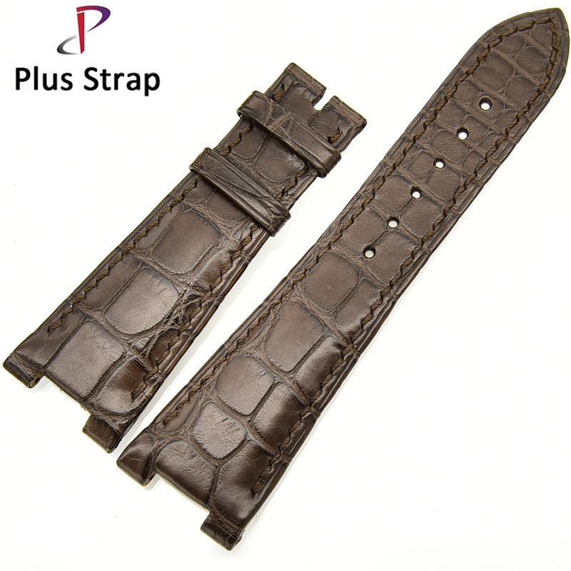 Alligator Skin Watch Band for Patek Philippe Watches Strap Replacement Genuine Leather Convex Mouth Wristband no Buckle alligator skin genuine leather watch band strap for omega watches accessories 16 mm 18 mm men bracelet wristband no buckle