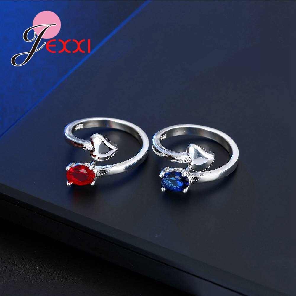 Moda owalny czerwony/niebieski dwa kolor regulowany otwarty pierścień z jedna miłość w życiu w kształcie serca 925 srebro pierścionki ślubne