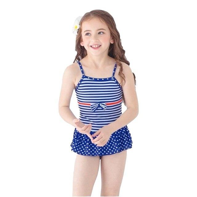 6389482b20c48 2018 Girls Kids Swimsuit Striped Dog One piece Swimwear Children Baby Cute Swim  Bathing Suit Bather Teens Beach Wear Bodysuit