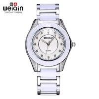 WEIQIN New White Rose Gold Womens Watch Bracelet Rhinestone Crystal Woman Watches Brand Fashion Ladies Dress