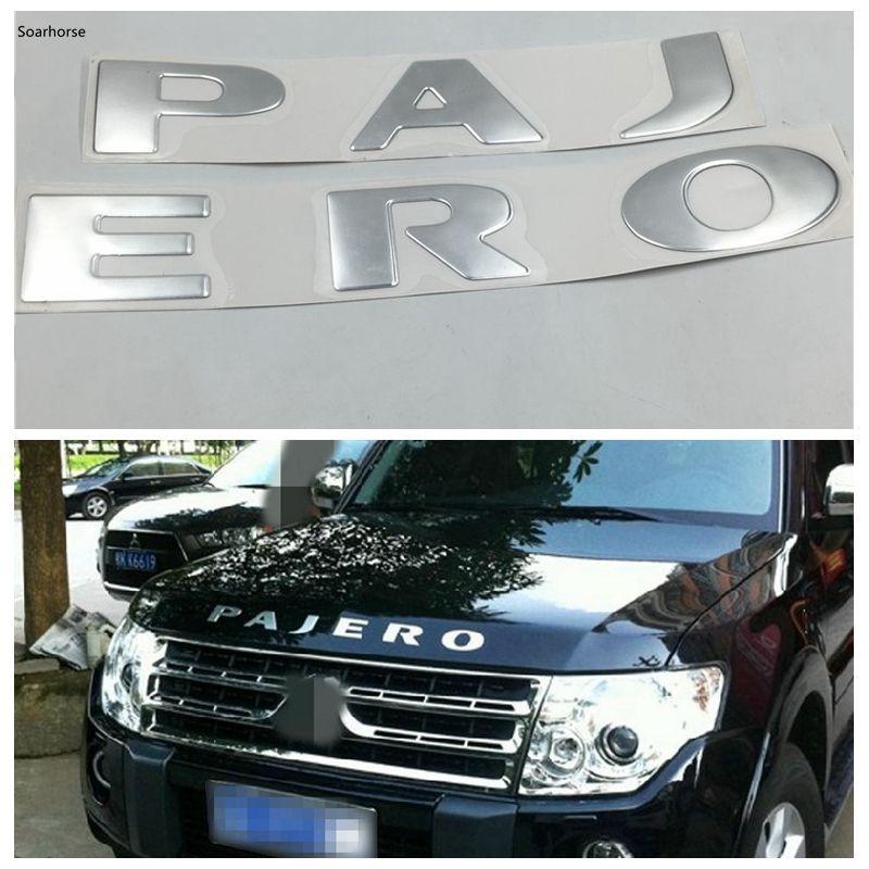 Soarhorse Silver Front Bonnet Emblems Badge Logo Stickers for Mitsubishi Pajero Montero V73 V75 V77 V93 V97 Mitsubishi Pajero
