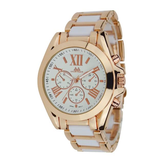2015 High End Brand Geneva Watches Fashion Nice Woman Six Pin Metal Strap Wristwatch Quartz Big Dial Watch