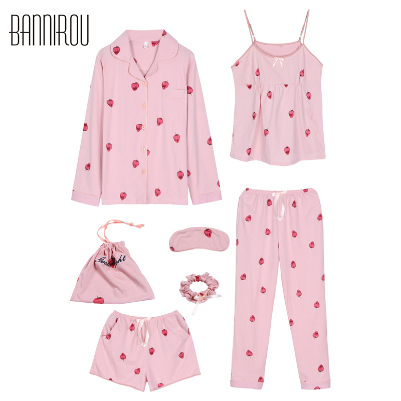 7 Pieses Lovely Woman Pajama Set Strawberry Pink Full Shorts Spaghetti Strap Suit Summer Spring Autumn Winter Female Pyjama 2018 ...