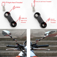 10mm X 1 25mm Pitch Right Left Thread CNC Universal Aluminum Motorcycle Mirror Mount Riser Extender