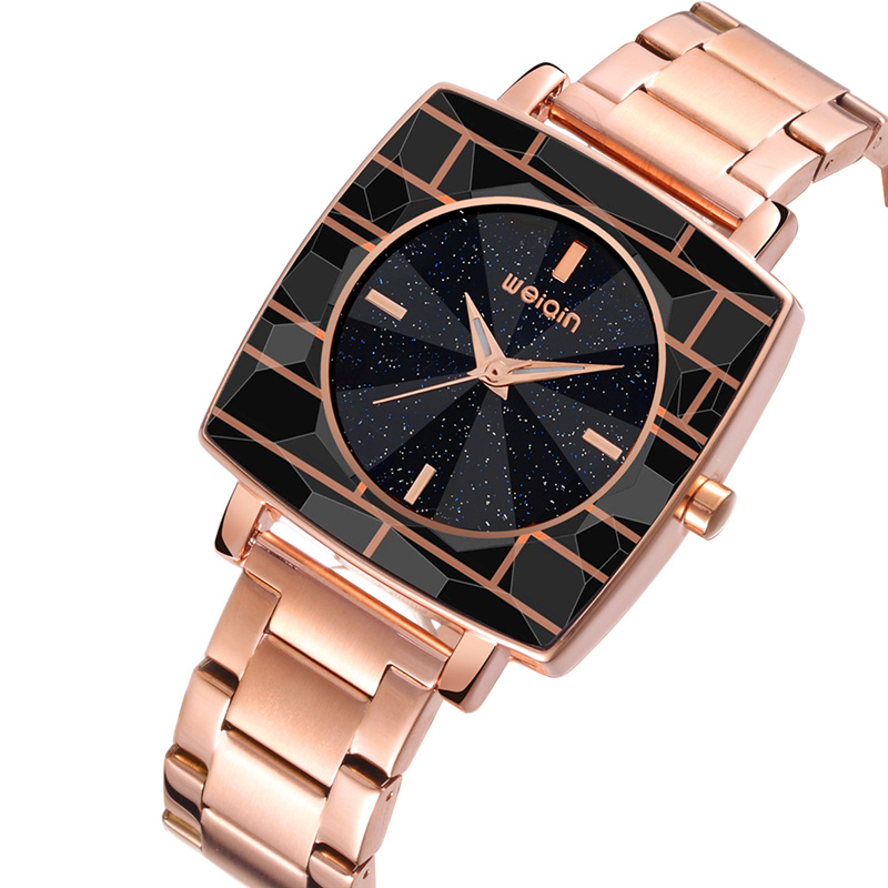 WEIQIN Luxury Brand Women Watches Unisex Female Male Fashion Steel Quartz Watch Square Dial Night Sky Design Ladies Clock weiqin 1096 fashion rhinestone scale quartz watch for female