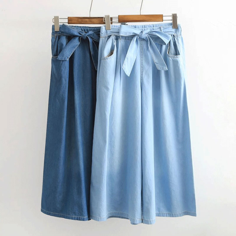 Women Jeans High Waist Knotted Elastic Waist Wide Leg Capri Denim Pants Trousers Female Casual Pants Palazzo Pants Light Blue