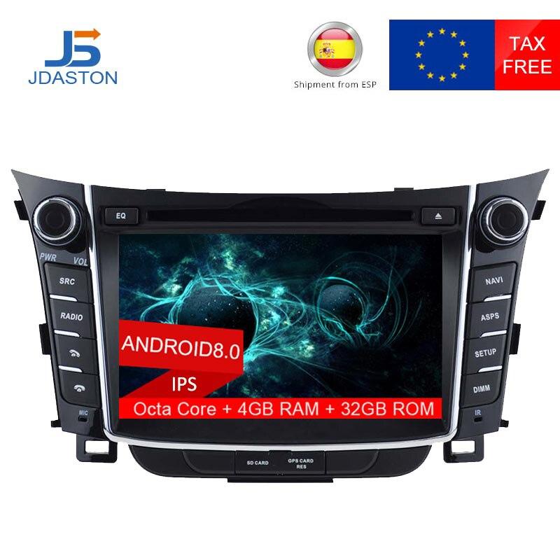 JDASTON 2 DIN Octa Core 4g + 32g Android 8.0 Lecteur DVD de Voiture Pour HYUNDAI i30 2011 2012 2013 Multimédia GPS Navigation Radio Audio